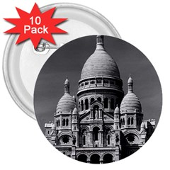 Vintage France Paris The Sacre Coeur Basilica 1970 10 Pack Large Button (round) by Vintagephotos