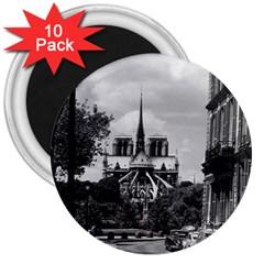Vintage France Paris Notre Dame Saint Louis Island 1970 10 Pack Large Magnet (round) by Vintagephotos