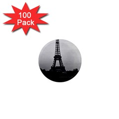 Vintage France Paris Eiffel Tour  Seine At Dusk 1970 100 Pack Mini Magnet (round) by Vintagephotos
