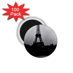 Vintage France Paris Eiffel Tour  Seine At Dusk 1970 100 Pack Small Magnet (round) by Vintagephotos