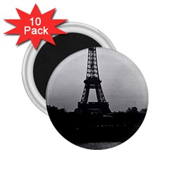 Vintage France Paris Eiffel Tour  Seine At Dusk 1970 10 Pack Regular Magnet (round)