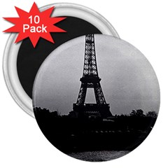 Vintage France Paris Eiffel Tour  Seine At Dusk 1970 10 Pack Large Magnet (round) by Vintagephotos