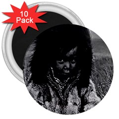 Vintage Usa Alaska Eskimo Boy 1970 10 Pack Large Magnet (round) by Vintagephotos