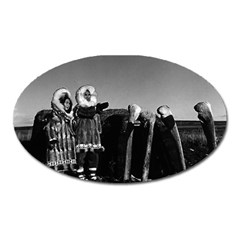 Vintage Usa Fur Clad Eskimos Of Arctic Alaska Bu Sod Igloo Large Sticker Magnet (oval) by Vintagephotos