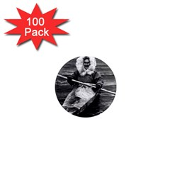 Vintage Usa Alaska Eskimo And His Kayak 1970 100 Pack Mini Magnet (round) by Vintagephotos