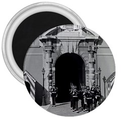 Vintage Principality Of Monaco Palace Gate And Guard Large Magnet (round) by Vintagephotos