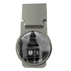 Vintage Uk England London The Post Office Tower Big Ben Money Clip (round) by Vintagephotos