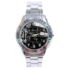 Vintage Uk England London Double Decker Bus 1970 Stainless Steel Analogue Watch (round)