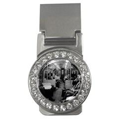 Vintage Uk  England Railway Inside Coach 1970 Money Clip With Gemstones (round) by Vintagephotos