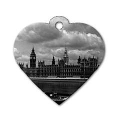 Vintage  UK England London The houses of parliament 1970 Twin-sided Dog Tag (Heart) by Vintagephotos