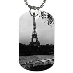 Vintage France Paris Eiffel tour Seine at dusk 1970 Single-sided Dog Tag by Vintagephotos