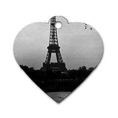 Vintage France Paris Eiffel tour Seine at dusk 1970 Single-sided Dog Tag (Heart) by Vintagephotos