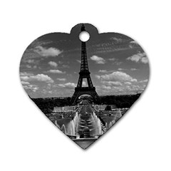 Vintage France Paris Fontain Chaillot Tour Eiffel 1970 Twin-sided Dog Tag (Heart) by Vintagephotos