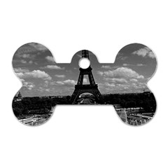 Vintage France Paris Fontain Chaillot Tour Eiffel 1970 Twin-sided Dog Tag (Bone) by Vintagephotos