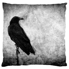 Black Crow Large Cushion Case (one Side) by heathergreen