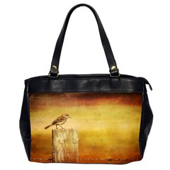 Bird On A Fence Twin Sided Oversized Handbag by heathergreen