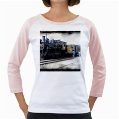 The Steam Train White Long Sleeve Raglan Womens  T Shirt by AkaBArt