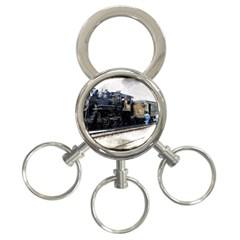 The Steam Train 3 Ring Key Chain by AkaBArt