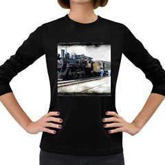 The Steam Train Dark Colored Long Sleeve Womens'' T Shirt by AkaBArt