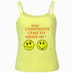 Cease To Amaze Yellow Spaghetti Top by ColemantoonsFunnyStore