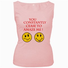 Cease To Amaze Pink Womens  Tank Top by ColemantoonsFunnyStore
