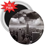 New York, USA 10 Pack Large Magnet (Round) Front