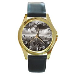 New York, Usa Black Leather Gold Rim Watch (round) by artposters