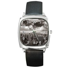 New York, Usa Black Leather Watch (square)
