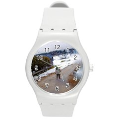 Rainy Day, Salzburg Round Plastic Sport Watch Medium