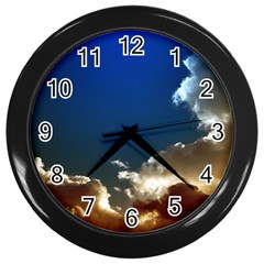 Cloudscape Black Wall Clock by artposters