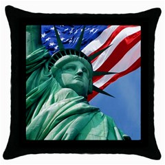 Statue Of Liberty, New York Black Throw Pillow Case by artposters