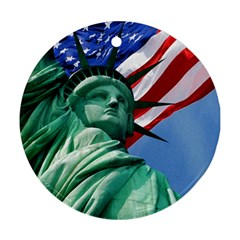Statue Of Liberty, New York Twin Sided Ceramic Ornament (round)
