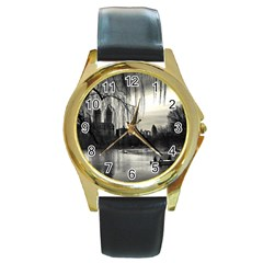 Central Park, New York Black Leather Gold Rim Watch (round) by artposters