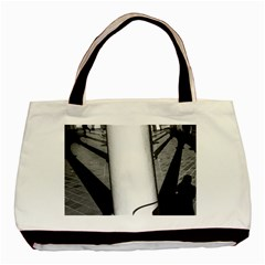 Lines Twin Sided Black Tote Bag by artposters