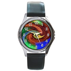 Culture Mix Black Leather Watch (round) by dawnsebaughinc