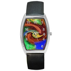 Culture Mix Black Leather Watch (tonneau) by dawnsebaughinc