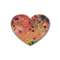 Diversity Rubber Drinks Coaster (heart) by dawnsebaughinc