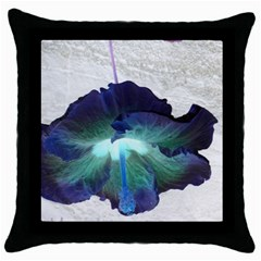 Exotic Hybiscus   Black Throw Pillow Case by dawnsebaughinc