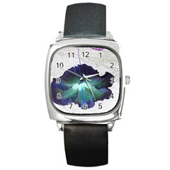 Exotic Hybiscus   Black Leather Watch (square) by dawnsebaughinc