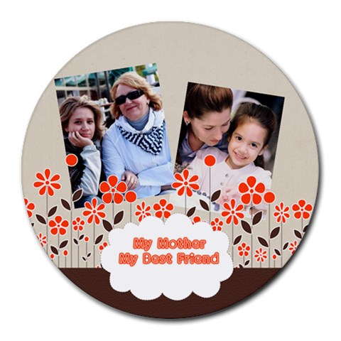 Mothers Day By Mom   Round Mousepad   6p6xyzhrtoxt   Www Artscow Com Front