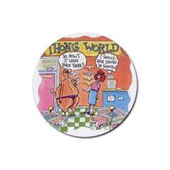 Thong World Rubber Drinks Coaster (round) by mikestoons