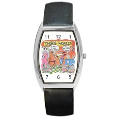 Thong World Black Leather Watch (tonneau) by mikestoons