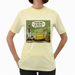 The Good News Is     Yellow Womens  T Shirt by mikestoons