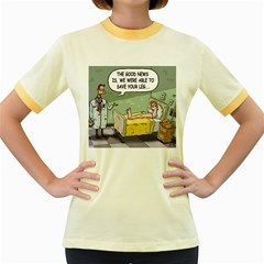 The Good News Is     Colored Ringer Womens  T Shirt by mikestoons