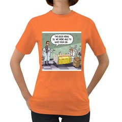The Good News Is     Dark Colored Womens'' T Shirt by mikestoons