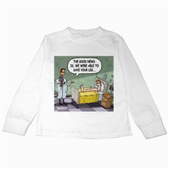 The Good News Is     White Long Sleeve Kids'' T Shirt by mikestoons