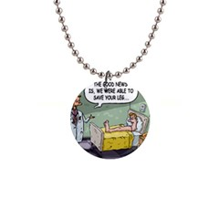 The Good News Is     Mini Button Necklace by mikestoons