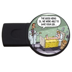 The Good News Is     4gb Usb Flash Drive (round) by mikestoons