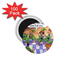Elf Help Group 100 Pack Small Magnet (round) by mikestoons