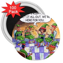 Elf Help Group 100 Pack Large Magnet (round) by mikestoons